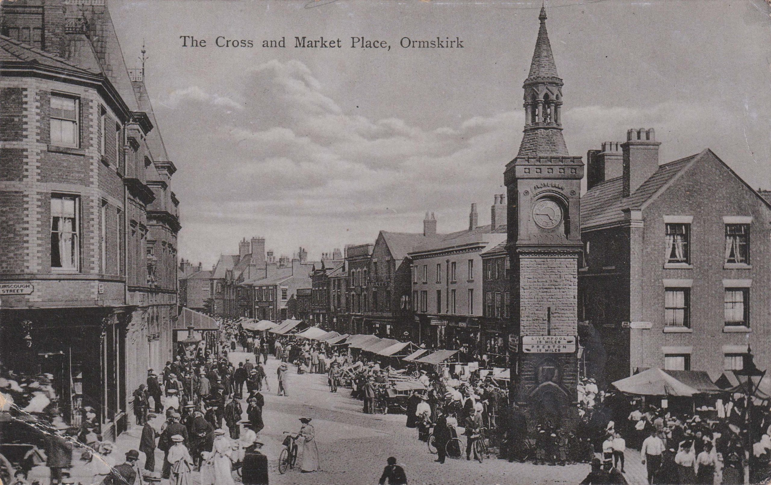 The Cross and Marketplace at Ormskirk, 1906