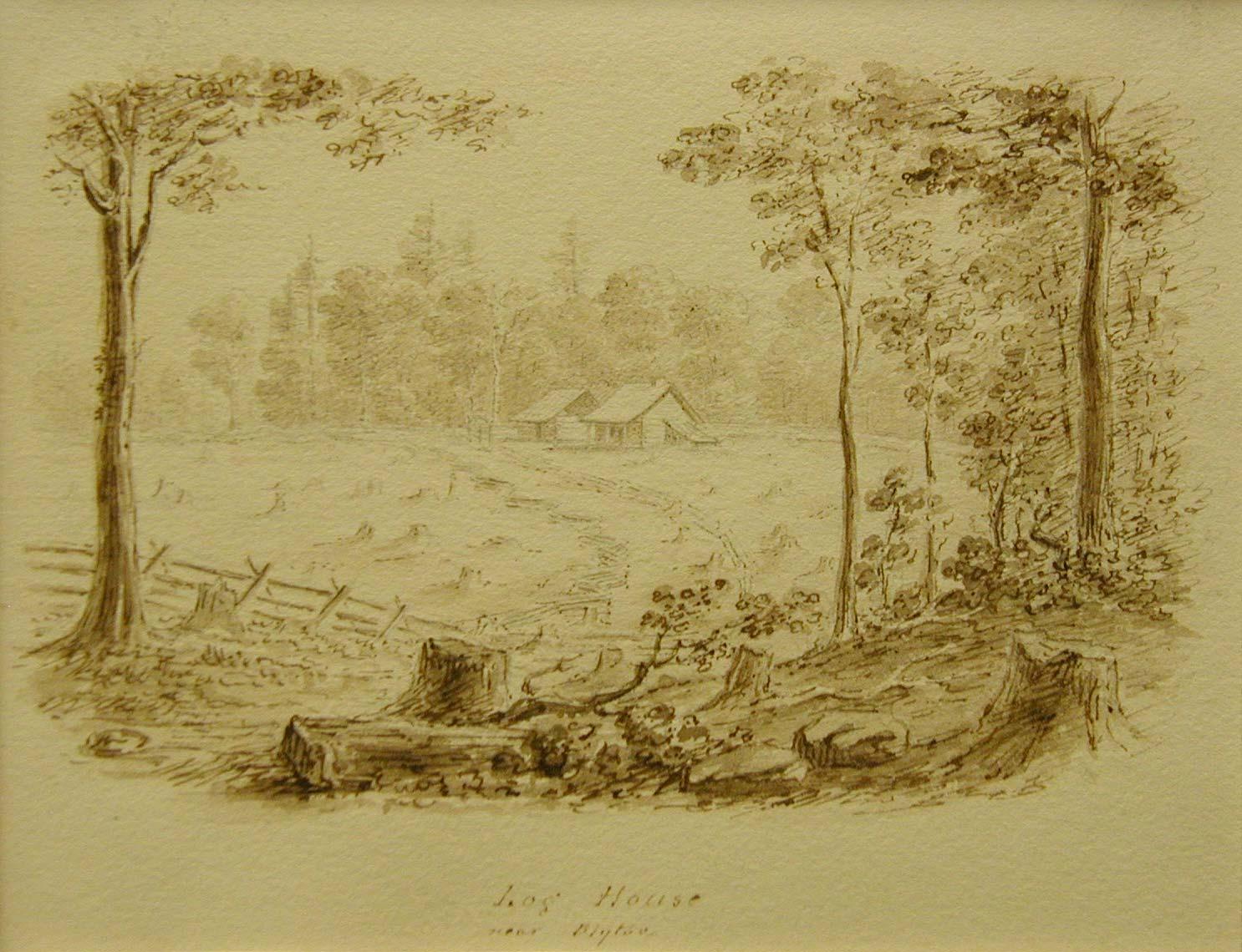 Log House Near Blythe, c 1838